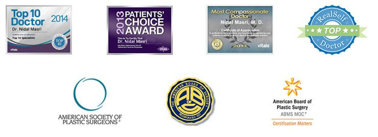 2014 Top 10 Doctor Award,2013 Patient's Choice Award,Real Self Top Doctor Award,Members of The American Society of Plastic Surgery,Members of The American Board of Surgeons,American Board of Plastic Surgery Board Certified Surgeons award for Dr. Nick ( Nidal) Masri M.D.